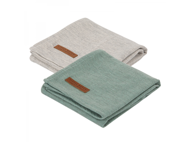 Plienky Little Dutch Swaddle 70x70 - Pure Mint/Grey 2ks
