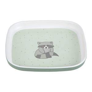 Detský tanier Lässig Plate Melamine/Silicone About Friends - Racoon